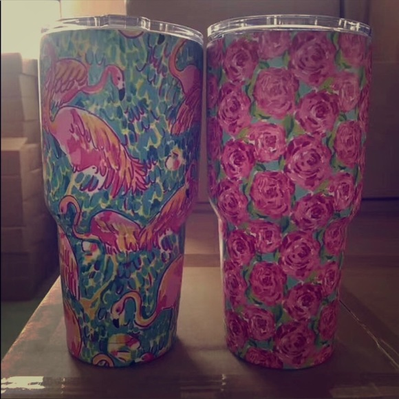 7197016f6c2 Yeti Accessories | Combo Pack Lilly Pulitzer Cup Roses Flamingo ...